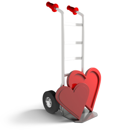 sack truck: deliviering a message of love on a sack truck isolated on a white background