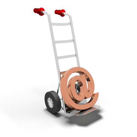 sack truck: Email delivery concept of a at symbol on a sack truck isolated on a white background Stock Photo