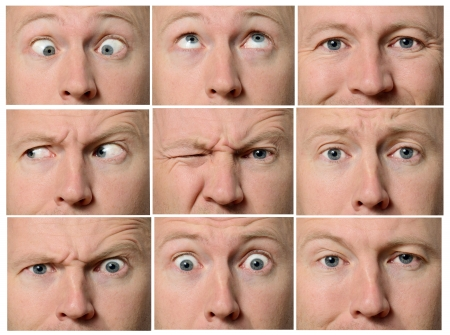 composite image: Close up of facial expressions focused on eyes Stock Photo