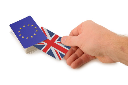 opting: uk britain pulling out of the EU isolated on a white background