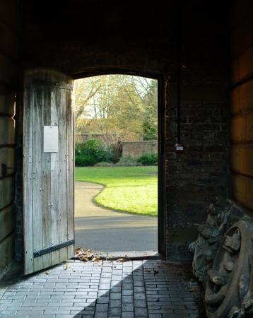 open doorway: door opening to a park in autum