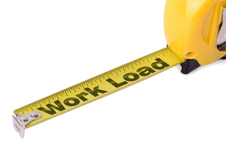 work load: Concept of measuring work load on a tape measure isolated on a white background  Stock Photo