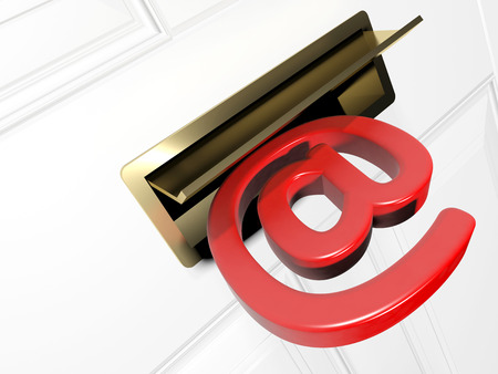 Concept of delivering an email with an at symbol going through a letter flap  photo