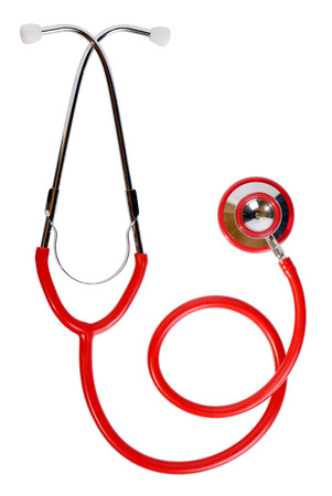 a red stethoscope isolated on a white background photo