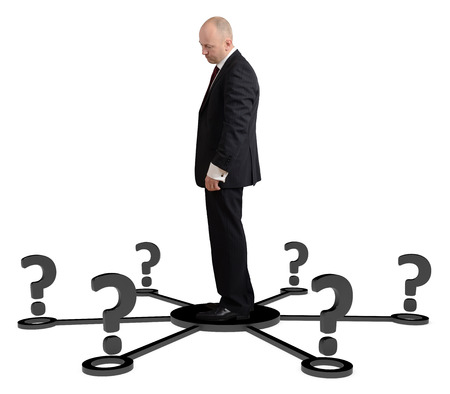 way of thinking: a man thinking for which way to go isolated on a white background