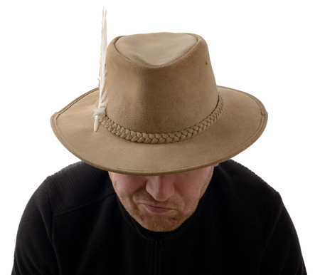 An explorer with hat isolated on a white background photo