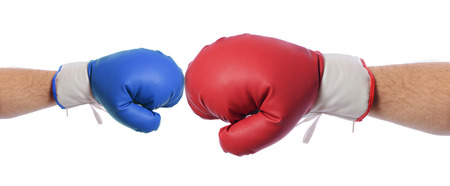 combative sport: Big Red v blue boxing gloves  with big red having the advantage, on white background