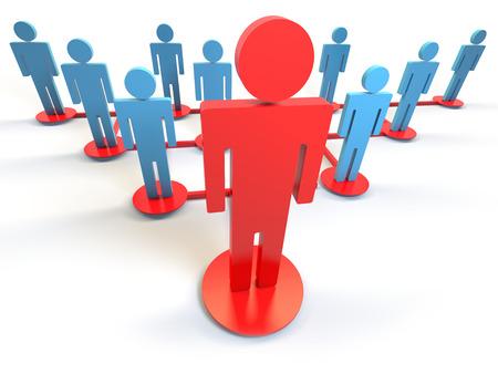 teamleider in een hiërarchie grafiek Stockfoto