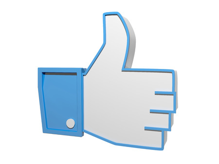 liking: concept of liking something a 3d thumbs up Stock Photo