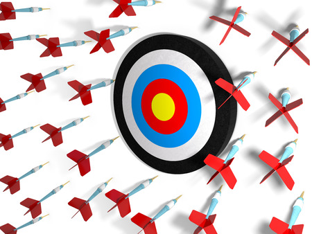 concept of failure with all the darts missing the target