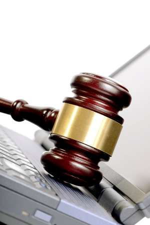concept for online auction a gavel on a laptop photo