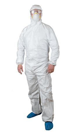 person in a protective suit isolated on white photo