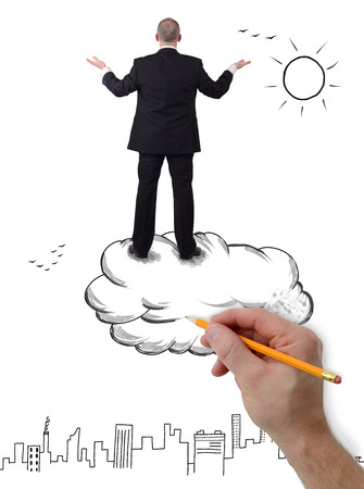 uncertainty: A businessman standing on a cloud arms outstretched overlooking a city