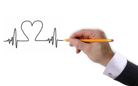 taking pulse: Heart beat graph drawn by hand isolated on a white background