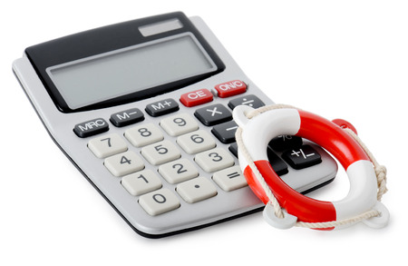 Concept of financial rescue a calculator and life belt isolated on a white background photo
