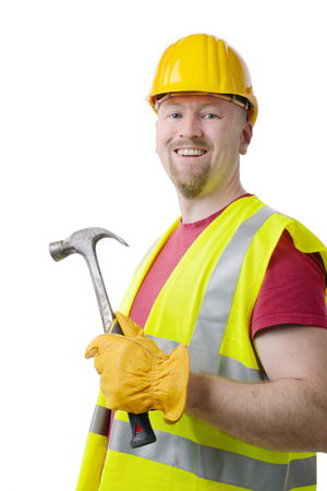 Man with construction gear, yellow , hat, gloves, isolated on a white Stock Photo - 28428039