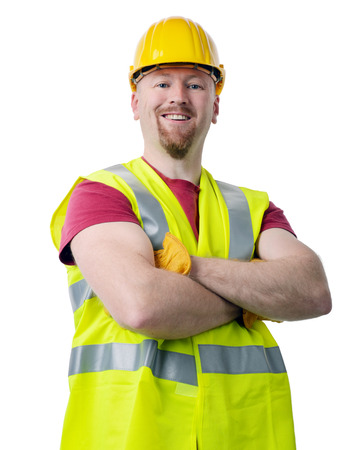 class maintenance: portait of a construction worker isolated on a white  Stock Photo