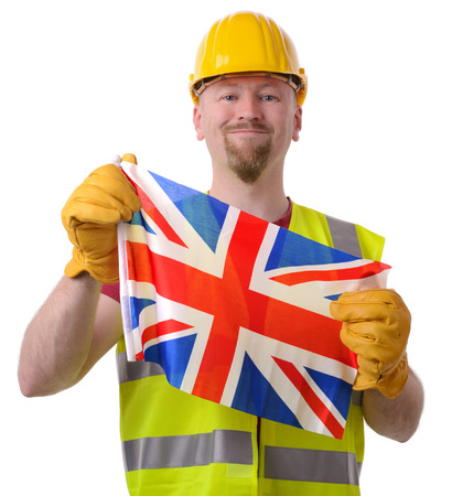 British construction economy great, proud worker with flag isolated on white Stock Photo - 28428045