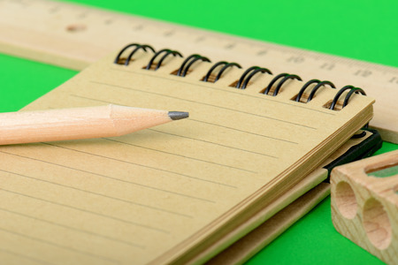 take a note: pencil and note pad ready to take notes Stock Photo