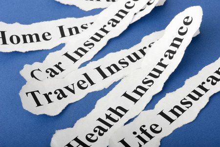 concept Insurance Policy, Life; Health, car, travel, home with blue background photo