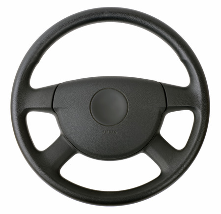 steering wheel isolated on white  版權商用圖片