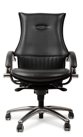 A luxury black leather office chair isolated on a white background photo