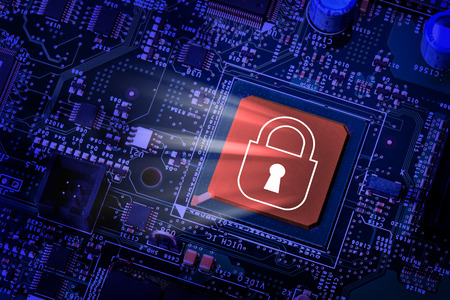 computer chip: Lock on computer chip - technology security concept Stock Photo