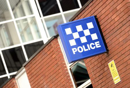 crime scene: A Police Station Sign  Stock Photo
