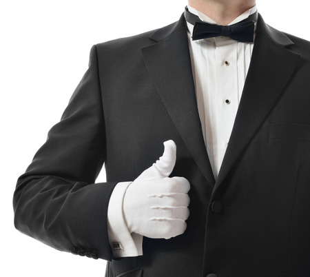 five star: Concept for a good five star service with a thumbs up from the waiter