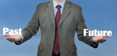decission: businessman shows two possibilities of past or future Stock Photo