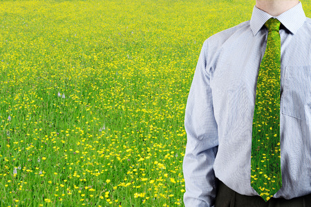 a business man stood in a green field of butter cups with matching tie  photo
