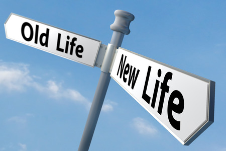 a sign post of changing to a new way of life photo