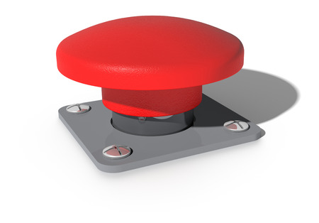panic button: A Big red button isolated on white Stock Photo