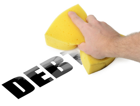cleaning debt: Wiping debt way with a sponge Stock Photo