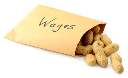 salarios: Cacahuetes que caen de un sobre marcado salario aislado en un fondo blanco