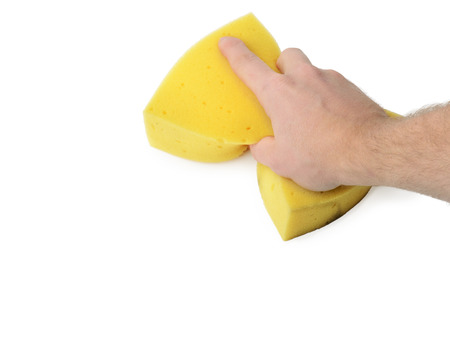 sponge: Hand holding a sponge wiping a white surface