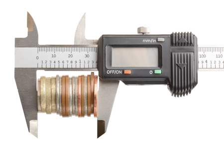 economic depression: concept of measuring your money, isolated on a white background