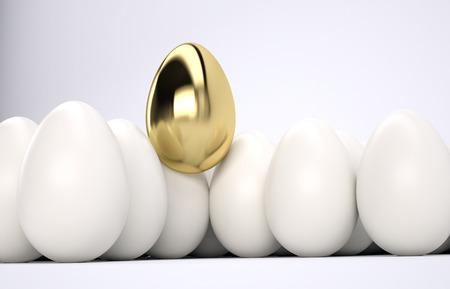 golden egg: One golden egg among white eggs