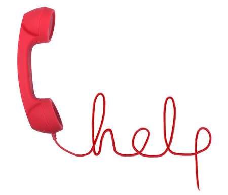 phone cord: Red telephone with help text  isolated on a white background