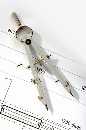 compas de dibujo: Detalle de dibujo y herramientas de dibujo  Foto de archivo