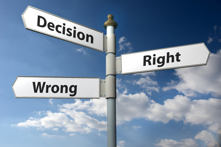 sign post: Concept image of a signpost with Decision Right or Wrong against a blue cloudy sky Stock Photo