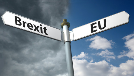 withdrawing: Sign with sign with brexit and EU