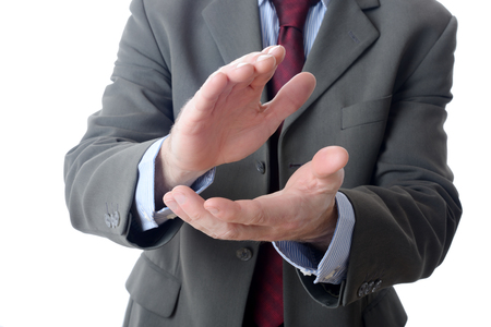 acclamation: Buisnessman clapping on isolated background Stock Photo
