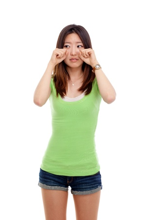 Depressed young Asian woman isolated on white background Stock Photo - 14432683