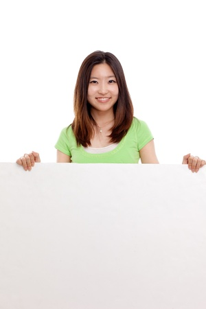 Pretty asian woman holding a penel photo