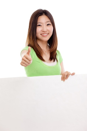 billboard advertising: Pretty Asian woman holding a panel and show thumb Stock Photo