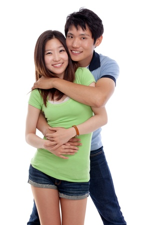 Happy young Asian couple isolated on white background