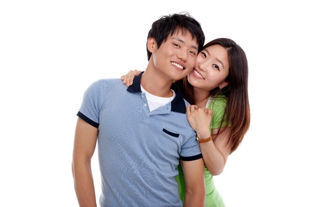 Happy young Asian couple isolated on white background  photo
