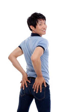 Young Asian man showing bottom Stock Photo - 14487774
