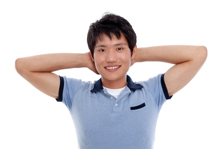 Young Asian man with smiling isolated on white background Stock Photo - 14487782
